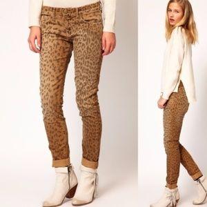 Current/Elliot Leopard Print Stilleto Skinny Jeans
